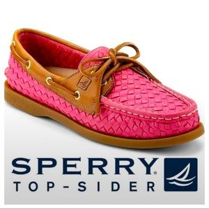 Sperry Top Sider Pink Woven Leather Boat Shoes 7.5